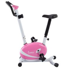Sunny Health & Fitness Pink Magnetic Upright Bike Exercise Bike w/ LCD Monitor, Gray Exercise Bike For Sale, Best Exercise Bike, Upright Exercise Bike, Exercise Bike Reviews, Upright Bike, Home Gym Equipment, Training Equipment, No Equipment Workout, Fitness Equipment