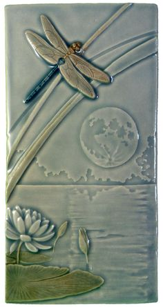 Dragonfly Moon, art tile, 4 x 8 inches by MedicineBluffStudio on Etsy