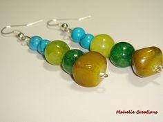 Chunky dangle earrings, multicolor earrings, affordable jewelry, green and blue earrings, multistone colorful earrings, statement earrings. $8.00, via Etsy.
