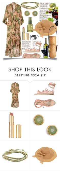 """Sip in Style"" by bleucabbage ❤ liked on Polyvore featuring ADRIANA DEGREAS, Dsquared2, Too Faced Cosmetics, Gorjana, Chan Luu, Ralph Lauren Home, girlstrip and WineTastingOutfit"