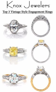 The top 3 vintage antique style engagement rings are filigree and hand engraving,  oval brilliant fancy yellow cushion cut, and old european cut. For more information click on pin.