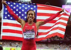 Sanya Richards-Ross wins gold in the Women's 400m...