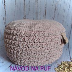 Háčkovaný puf, taburet, kobereček, košík