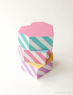 Free Printable Geometric Heart Shaped Gift Boxes
