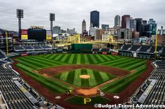 PNC Park home of the Pittsburgh Pirates with the Pittsburgh, Pennsylvania skyline in view.