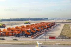 Snowplows park at Barajay Airport Snow Plow, Rigs, Editorial Photography, Madrid, Spain, Wheels, White Gold, Construction, Stock Photos