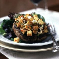 Portobello Mushrooms with Mediterranean Stuffing Recipe -- YUM