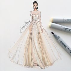 """Well hello there dream gown  @moniquelhuillier sketched with @copicmarker #fashionsketch #fashionillustrator #fashionillustration #bridalfashionweek…"""