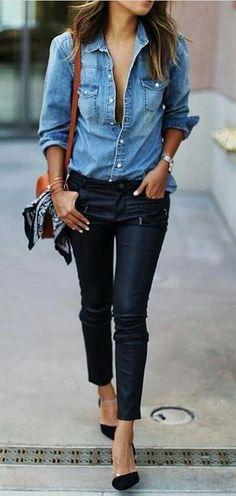 casual outfit idea denim shirt + pants + bag