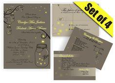 Mason Jar Wedding Invitation RSVP Direction and Menu by DigiFoto