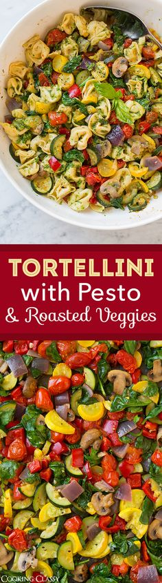 Tortellini with Pesto and Roasted Veggies - So flavorful and delicious! Quick…
