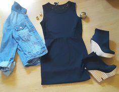Chaqueta tejana Levis, vestido H & M, botines Bershka