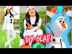 The costume for Olaf is a white jumpsuit with a hoodie. You can simply wear a white or brown shirt underneath, with white booties or white slippers for shoes.