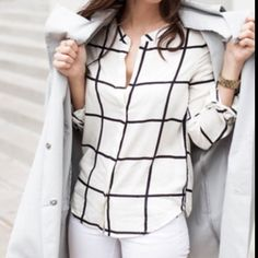 HPWhite long sleeve grid pattern button blouse White long sleeve grid pattern button up blouse new in packaging never worn comes in small medium or large comment with size and I'll make a new listing for you!  Cotton blend material is super comfy. Boutique Tops Blouses