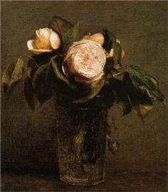 Roses in a Tall Glass - Henri Fantin-Latour