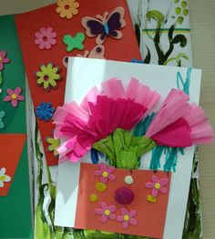 Spring card with kids