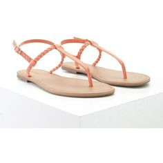Forever21 Faux Leather Sandals (32 BRL) ❤ liked on Polyvore featuring shoes, sandals, coral, cushioned sandals, ankle tie sandals, braided sandals, ankle strap flats and vegan shoes