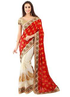 Red Off White Banarasi Jacquard Net Wedding Saree