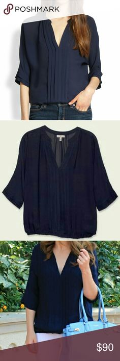 """Joie Marru Blouse in Navy, Size L This 3/4"""" sleeve silk blouse features pleats at the front and cuffs, a split v-neck and gathered elastic banding at waist. Beautiful dark navy color in a size L.  *Exclusive to Joie.com & Joie Boutiques 100% Silk  I've worn this a couple of times, and it's been dry cleaned.   Excellent like-new condition. Joie Tops Blouses"""