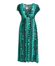 Take a look at this Black & Green Surplice Maxi Dress - Plus today!