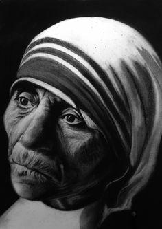 Teresa de Calcuta - Carbon sobre papel 30 x 42