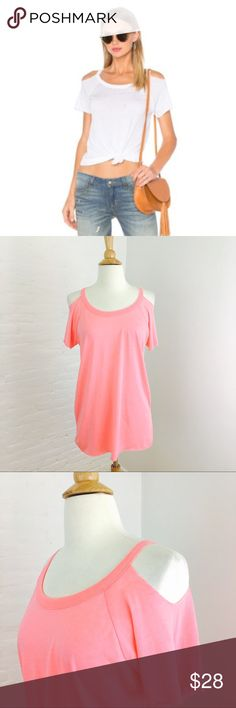 Chaser Cold Shoulder Raglan Tee Super soft pretty bright pink cold shoulder tee. Raw hems, true to size. Chaser Tops Tees - Short Sleeve
