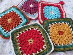 Dahlia Block front of the potholders by eclectic_chica,
