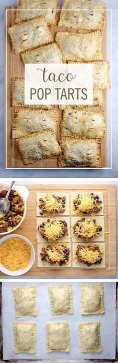 """Taco Pop Tarts Recipe via Babble """"These Taco Pop Tarts are a perfect way to turn your favorite breakfast pastry into dinner. Take your typical taco ingredients and turn them into this delicious on-the (Breakfast Pastries) Mexican Dishes, Mexican Food Recipes, New Recipes, Cooking Recipes, Favorite Recipes, Kid Cooking, Jello Recipes, Whole30 Recipes, Vegetarian Recipes"""