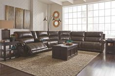 Antique Dak DuraBlend® 6-Piece Sectional with Power View 1