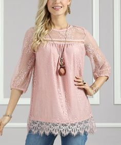 Look what I found on #zulily! Pink Lace-Yoke Swing Tunic - Plus Too #zulilyfinds