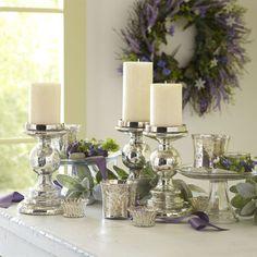 Mercury Glass Pillar Stands - Antiqued Silver