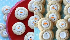 Double Thumbprint Snowman Cookies recipe- because 2 cookies are always better than one. Cute double thumbprint cookies made into adorable snowmen. Christmas Treats To Make, Easy Christmas Cookie Recipes, Christmas Cookie Exchange, Best Christmas Cookies, Holiday Cookies, Christmas Desserts, Holiday Treats, Christmas Baking, Simple Christmas