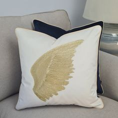 Embroidered pillow cover, golden right wing pillowcase, velvet art cushion cover, 45x45cm, cream pillowcases, Decorative Cover, handmade Beige Cushions, Velvet Cushions, Golden Wings, Pipe Decor, Pillowcases, Betta, Original Image, Pillow Covers, Glow