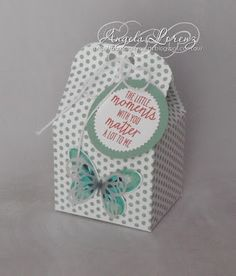 Saturday, 13 June 2015  Angela Lorenz:  Stampin Up Baker's Box Thinlits, Watercolor Wings, Dots for Days background 2015/2016 Annual Catalog