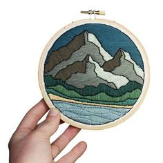 Embroidery Stitches Designs December Mountain Peaks Embroidery Pattern, Sarah K. Benning - Looking for one of a kind gift this holiday season? Make holiday shopping a breeze with these Etsy holiday gifts. For more unique gifting ideas, head to Domino. Local Embroidery, Learn Embroidery, Hand Embroidery Stitches, Embroidery Hoop Art, Hand Embroidery Designs, Embroidery Techniques, Cross Stitch Embroidery, Embroidery Patterns, Cross Stitch Patterns