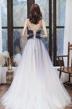 STYLISH V NECK TULLE LONG A LINE PROM DRESS BLUE EVENING DRESS cg21204 – classygown