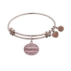 Angelica Womens Stipple Brass Godmother Bangle Bracelet (White)