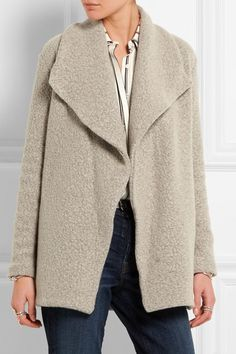 Taupe wool-blend bouclé Slips on wool, nylon; pocket lining: cotton Dry clean Designer color: Cement Made in the USA James Perse, Larsson And Jennings Watch, Alexander Mcqueen Bracelet, J Brand Jeans, Frame Denim, Phillip Lim, Denim Shirt, Wool Blend, Cardigans