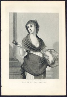 Victorian era woman with basket Lily of the Valley 1888 Illman Bros steel engraving vintage print