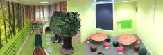 Panoramic view of the new enchanted forest themed school library space in London.  Southmead Primary School - Wimbledon, London. www.rapinteriors.co.uk