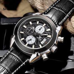 a8460e2de05 MEGIR Quartz Military Chronograph Sports Men s Watch with Leather Band  Chronograph