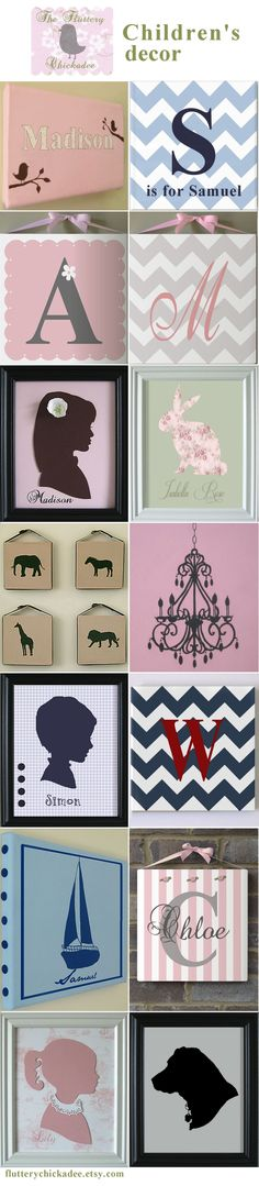 Cute silhouettes and artwork for children's rooms