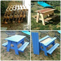 From wooden pallet to picnic table / sandbox ! #diy #Pallet #sandbox