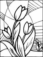 Stained glass flowers tulip coloring picture - sec - Blumen