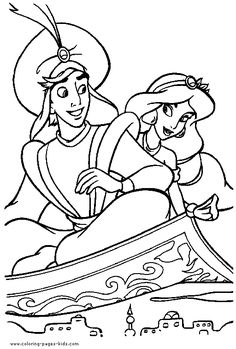 Aladin and Jasmin coloring page, aladin coloring page, disney coloring pages, color plate, coloring sheet,printable coloring picture