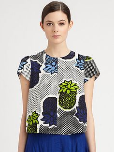 Wax print - Moschino Cheap And Chic - Pineapple Print Poplin Top - Saks.com