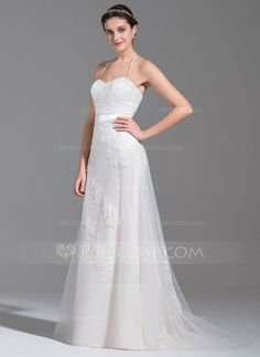 [US$ 285.99] A-Line/Princess Halter Sweep Train Tulle Wedding Dress With Beading Appliques Lace Sequins Bow(s) (002078690)