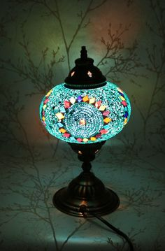 These Turkish Mosaic Lamps are made of hand-cut colored glass.