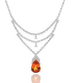 Harry Winston mandarin garnet and diamond necklace