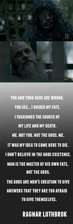 John Kavanagh as The Seer and Travis Fimmel as Ragnar Lothbrok in Vikings Vikings Tv Show, Ragnar Vikings, Vikings Tv Series, Ragnar Quotes, Ragnar Lothbrok Quotes, Viking Berserker, Citations Viking, Viking Character, Viking Quotes